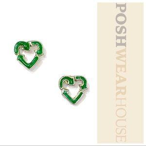 Jewelry - Steel & Green Recycle Heart Shaped Stud Earrings